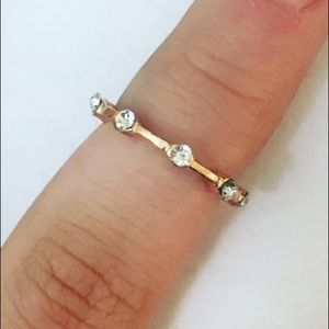 Jewelry - Dainty Rhinestone Rose Gold Midi Ring
